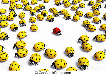Red ladybird is marginalized - crowd of yellow ladybugs...