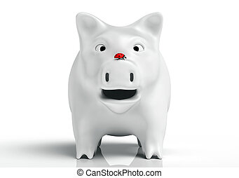 Surprised white piggy bank - front view of a surprised white...