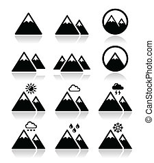 Mountain vector icons set - Vector icons set of mountain...