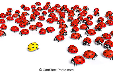 Yellow ladybird is marginalized - crowd of red ladybugs...