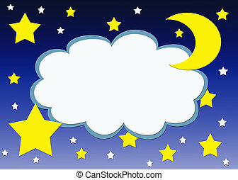 Starry night - Cloud shape frame with stars and moon...