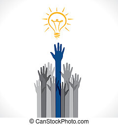 get new idea concept - every hand try to get new idea or...