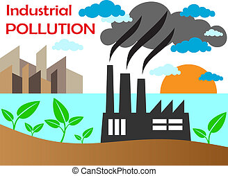 Air pollution of factory with chimneys against the sky....