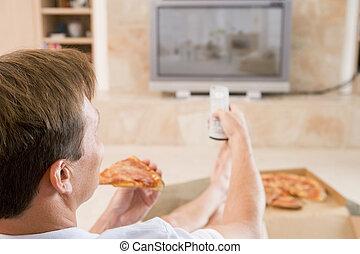 Mirar, televisión, mientras,  pizza, el gozar, hombre