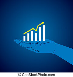 business growth graph in hand vector