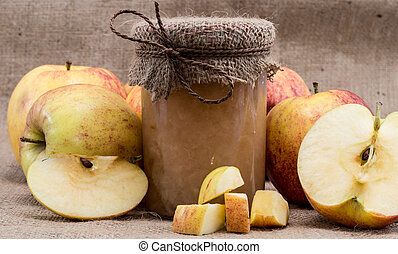Fresh made applesauce with apples - Fresh homemade...