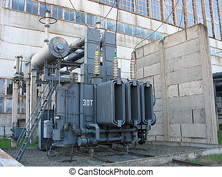 High voltage electric converter equipment at a power plant -...