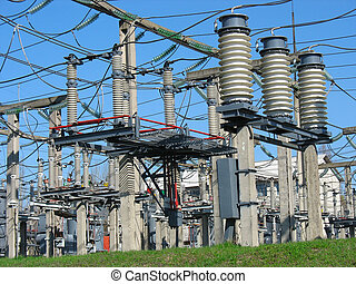 High voltage  electric converter wire equipment at a power plant