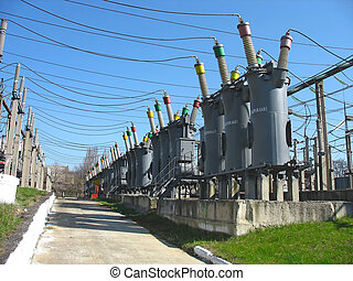 Line of high voltage electric converters equipment at a power plant