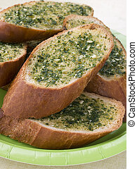 Plate Of Garlic Bread