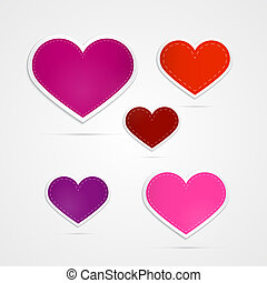 Vector Hearts Isolated on Grey Background