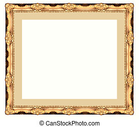 gold frame - a picture gold frame on a white