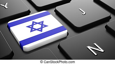 Israel - Flag on Button of Black Keyboard. - Flag of Israel...