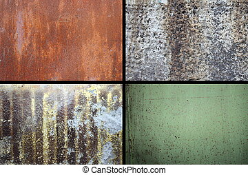 collection of rusty textures, different colors and patterns