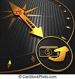 Golden Icon of Money in the Hand on Black Compass