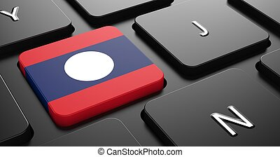 Laos - Flag on Button of Black Keyboard.
