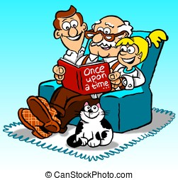 Story teller - Cartoon of grandfather in armchair reading...