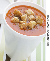 Cup Of Tomato Soup With Croutons In A Polystyrene Cup