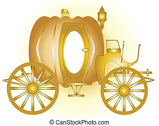Magic Carriage - A magic fairy tale carriage in gold.