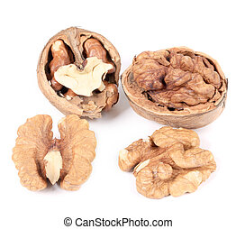 Close up of walnuts and kernels. Isolated on a white...