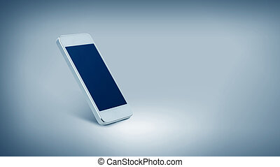 white smarthphone with black blank screen - technology and...