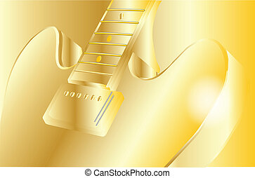 gold guitar - A classic, typical jazz and blues guitar in...