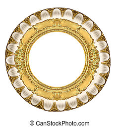 circle gold frame - a picture frame on a white