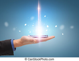 man hand with smartphone - technology and communication...