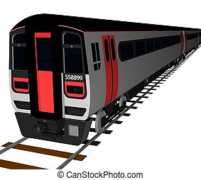 Carriage - A train carriage on a railway track, 3d image