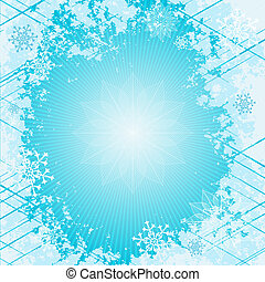 Gentle blue christmas frame with rays and snowflakes (vector...