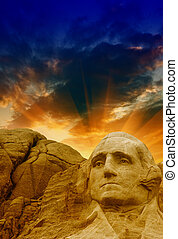 Mount Rushmore - George Washington sculpture.