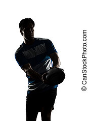 Rugby player in a blue uniform. White Background
