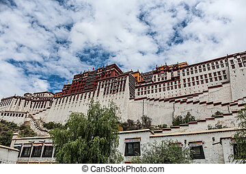 Exterior of Potala Palace in Tibet during a sunny day