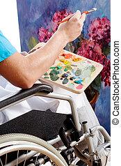 Disabled painter closeup