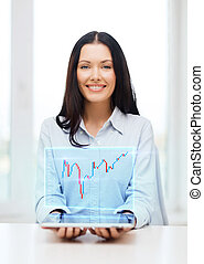 businesswoman with tablet pc and forex chart - business,...