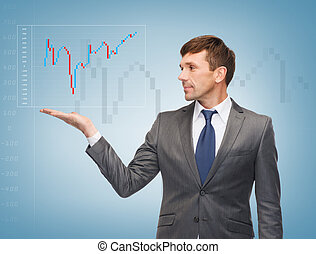 businessman showing forex chart - business, money and office...