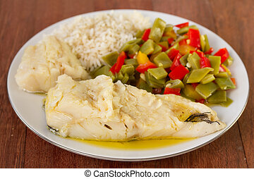 codfish with vegetables and rice