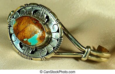 Sterling Silver Bracelet with turquoise and brown stone
