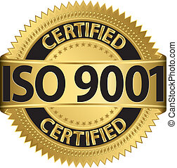 ISO 9001 certified golden label, vector illustration