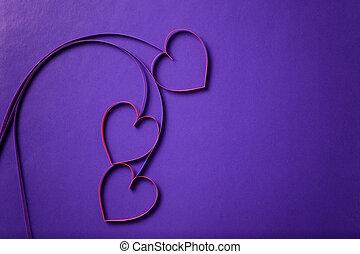 papier, Kwiecie, serca, purpurowy, tło