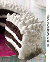 Slice Of Devils Food Cake With Marshmallow Frosting
