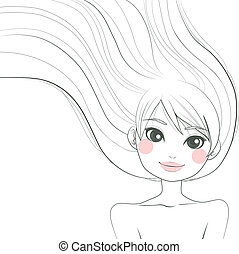 Woman Line Art Illustration - Line art hand drawn...