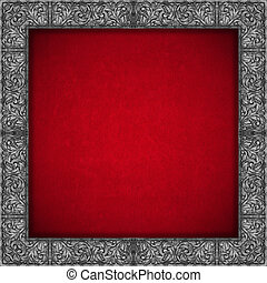 Silver Floral Frame on Red Velvet Background - Red velvet...