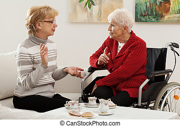 Elder women meeting - Two elder women spending nice time...
