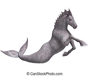 Hippocampus Mermaid's Horse - 3D digital render of...