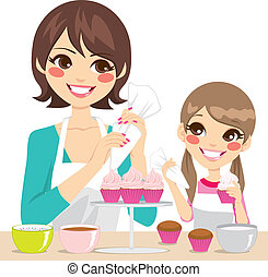 Family Decorating Cupcakes - Mother and daughter family...
