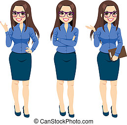 Businesswoman With Glasses Gestures - Three different full...
