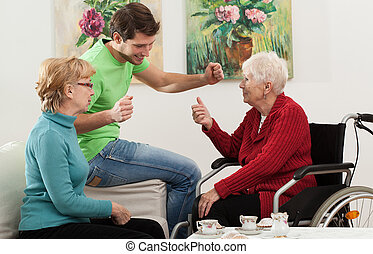 Family visit - Elder disabled person has a family visit