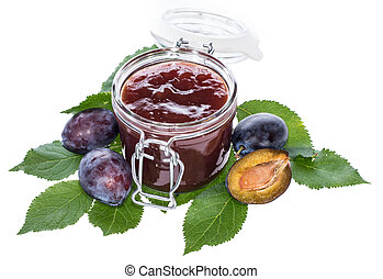 Glass filled with Plum Jam on white - Glass filled with Plum...