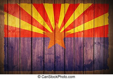 Arizona Flag Wood Background. Arizona State Flag Painted on...